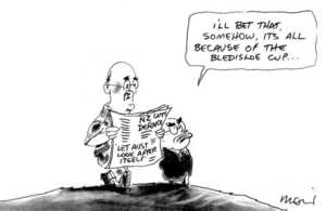 Moir, Alan, 1947- :I'll bet that, somehow, its all because of the Bledisloe Cup... Sydney Morning Herald, 8 May 2001.