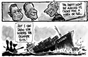 """Evans, Malcolm Paul, 1945- :""""The Party won't be making it's choice for a week or two ... but I can show you where the skipper sits!"""" 3 December 2011"""
