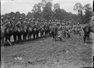 Prime Minister Massey and Sir Joseph Ward inspect the Otago Mounted Rifles, France