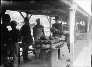 Examining a batch of bread at the New Zealand Field Bakery, Rouen