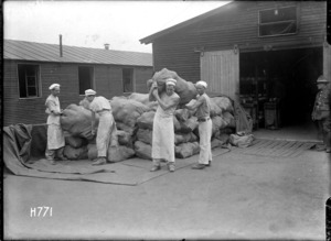 Sacks of fresh loaves at the New Zealand Field Bakery, Rouen