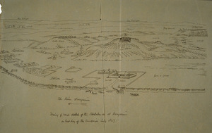 Collinson, Thomas Bernard 1822-1902 :The River Wanganui. Tracing of rough sketch of the stockades etc. at Wanganui on last day of the campaign July 1847.