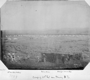 Camp of the 65th Regiment near Drury, Auckland