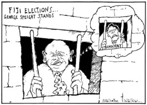 FIJI ELECTIONS... George Speight stands. Democracy. Sunday News, 26 August 2001