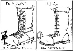 ED HILLARY.. Big boots to fill... U.S.A. .. Big boots to lick... Sunday News, 30 May 2003
