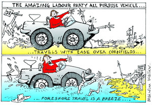 THE AMAZING LABOUR PARTY ALL PURPOSE VEHICLE... Travels with ease over cornfields... Foreshore travel is a breeze... Sunday News, 12 September 2003