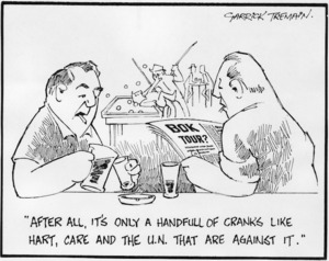Tremain, Garrick, 1941- :After all, it's only a handful of cranks like Hart, Care and the U.N. that are against it. Bok Tour? 29 February 1972.