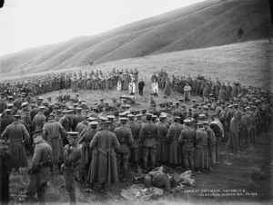 Church service at a 10th Nelson Mounted Rifles camp in Tapawera