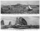 Blomfield, Charles 1848-1926. :New Zealand to-day - the North-Shore regatta, Auckland; a race between Maori war canoes. [Engraved by] C Blomfield. New Zealand sixty years ago - Maori war canoes racing off Cape Brett, North Island, on their return from a war expedition. 1882. The Graphic. March 17 1883.